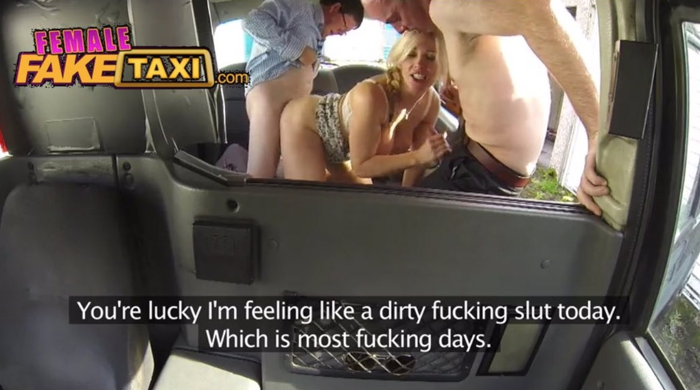 Femalefaketaxi messy facial for busty driver